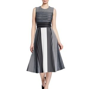 Calvin Klein Striped Scuba Fit n Flare Midi Dress